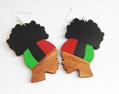 Afro Puff Earrings RBG Jewelry Wooden Earrings Afro Earrings Natural Hair Wood Earrings Red Black Green Afrocentric Earring African American