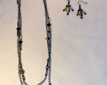 Charcoal and Silver Earrings and Necklace Set of 2