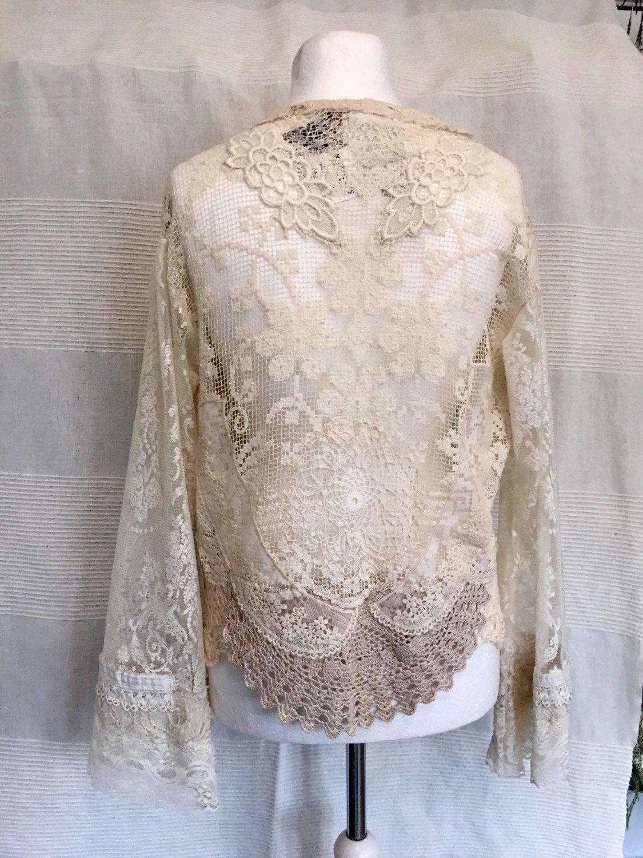 Antique inspired wedding lace jacket repurposed lace for Antique inspired wedding dresses