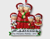 SHIPS FREE - 5 Person Pajama Party Personalized Ornament - Matching Christmas Pajamas - Personalized Family Ornament