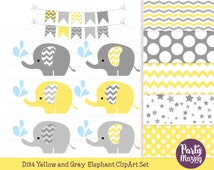 Yellow Baby Elephant Clipart set , Yellow and Gray - Elephant Clip Art Set and Digital Paper Set D184