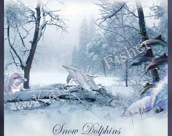 "8""x8"" Print ""Snow Dolphins"""