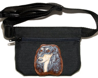 Embroidered dog treat waist bag. Breed - Saluki. For dog shows and training. Great gift for breed lovers.