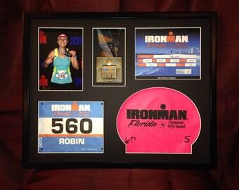 Triathlon Racebox - 16x20 - Shadowbox - Picture Frame Collage