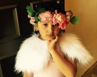 Bridal flower girl stole white pink shrug first communion Faux Fur Bolero White Wedding bolero Capelet fur Shrug Cover Up Stole Wrap Shaw