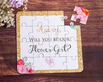 Flower Girl Gift. Will You Be My Flower Girl Puzzle. Flower Girl Proposal Asking Flower Girl Card