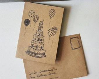 Cute Birthday Postcard with envelope
