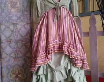 Women's handmade top/ women's handmade dress / Lagenlook top/ Lagenlook dress/ ruffled top/ striped top/ striped dress/ ruffled dress