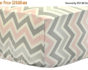 30% OFF Pink & Gray Chevron Crib Sheet for Girls | Zig Zag Pink and Gray