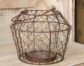 Chicken Wire Pillar Candle Holder