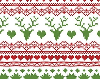Jolly Holiday Stitch Deer in KNIT, Jolly Holiday BOLT Collection, Made in USA, Cotton Jersey Knit Fabric 5611