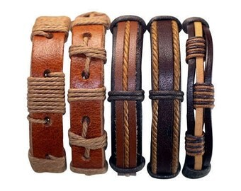5 Piece Handmade Leather Bracelet Set Men's Leather Bracelet Women's Braided Leather Wrap Braclet  5P-531
