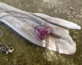 Pendant Pink Flower heart