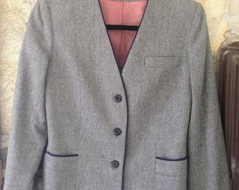 Grey Blazer with Navy Piping sz 8