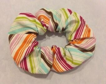 Multicolored stripe hair scrunchie/fabric hair tie