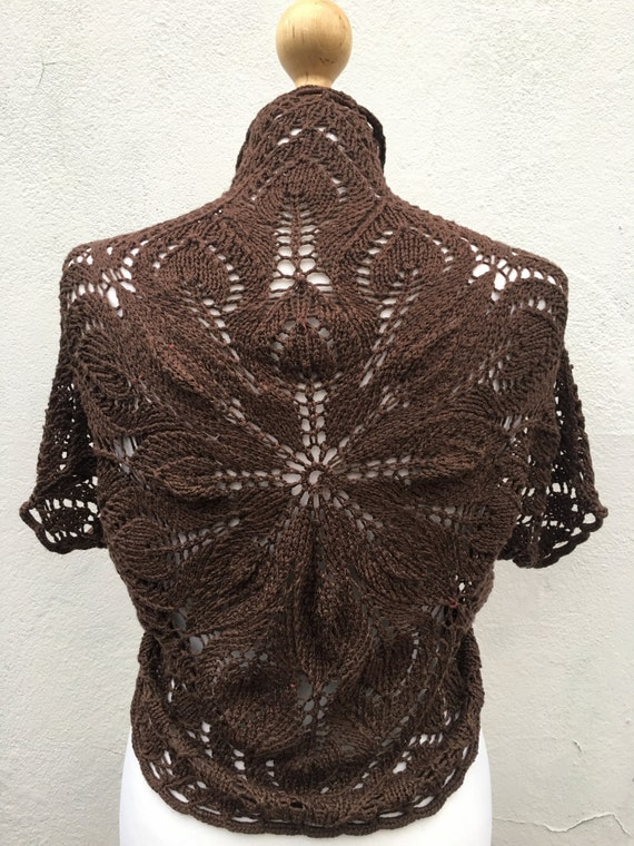 Brown Hand Knitted Bolero, Brown Bridesmaid bolero, wedding bolero, knit  Bolero, Vest, Silk knit Bolero