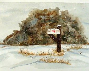 Original Watercolor Country Landscape, Watercolor of Mailbox in the Snow