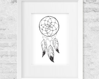 Dream Catcher, Feathers, Black & White - Art Print