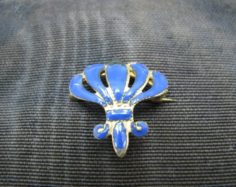 Blue Enameled Vintage Lapel Watch Pin