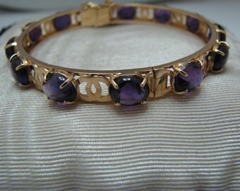 Gorgeous Amethyst Hinged 18k Gold Bracelet