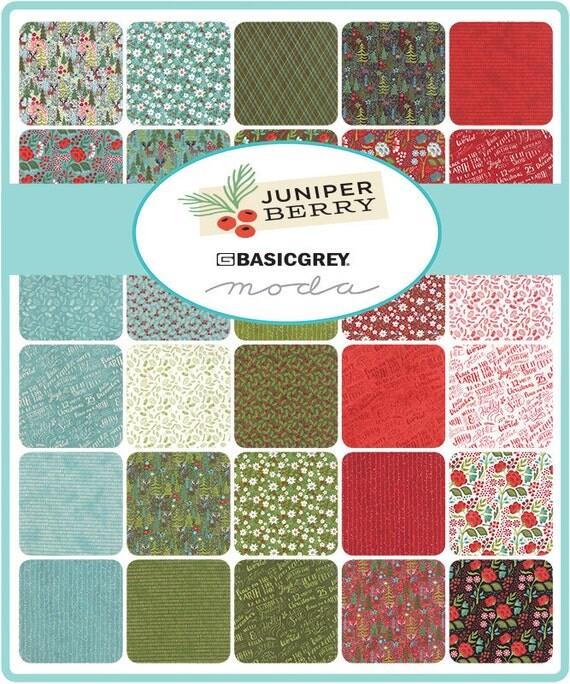 Juniper Berry Fabric, Dark Green Christmas Fabric, Basic Grey ...