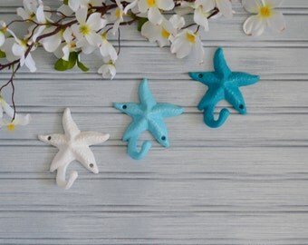 Set of Three Starfish Hook.  Starfish Hook. Star Fish Hook. Beach Decor. Nautical Decor. Coastal Decor. Seashell Decor. Wall Decor