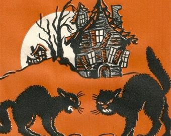 Vintage retro Halloween napkin black cat haunted house digital download printable instant image