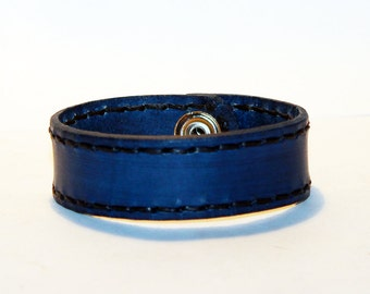 Blue Leather Cuff Bracelet! Nice gift for women!Blue wrist cuff! Bracelet wof women! Bracelet for men.