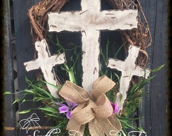 Beautiful Cross Wreath, home decor, Easter decor