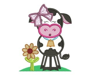 Girl Cow With Big Hair Bow Machine Embroidery Applique Design Digitized Pattern - Instant Download