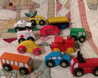 Lot of 10+ Wooden Cars  Trucks  Trains and More - Must See to Appreciate!