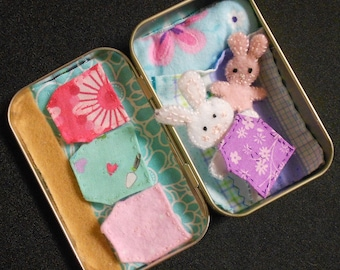 Altoid road trip bunnies play set, travel toy, stuffed animal,bedtime, girl,felt,church or purse toy,quiet, sleepover, travel, summer travel
