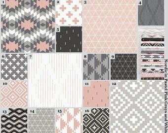 Custom Baby Bedding (Pink Gray White) (Plus Sign Cross Geometric Nordic) Baby Girl Gender Neutral Toddler Quilt Sheet Crib Decor