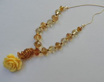 """Necklace """"Cream Rose"""" with resin flower, light and dark yellow crystals and seed beads,"""