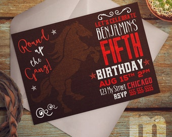 Cowboy Round Up Birthday Invitation Digital Art for Print