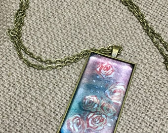 Blue and Pink Rose | Hand Painted Original Art Pendant Necklace | Long Rectangular Pendant | Love Illustration