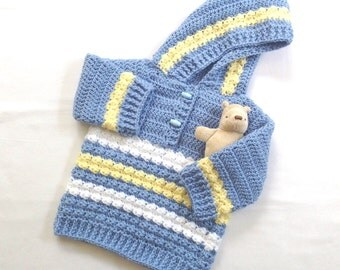 Hooded baby coat - 6 to 12 months - Baby shower gift - Baby clothing - Baby crochet jacket - Infant hooded sweater
