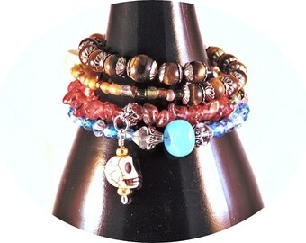 Bohemian Style Memory Wire Bracelet, Boho, Memory Wire