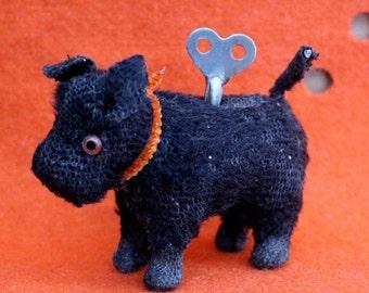 Vintage Windup Toy Black Dog Scottish Terrier Scotty Scottie Spins