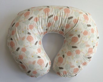 Boppy Cover - Summer Blooms on White