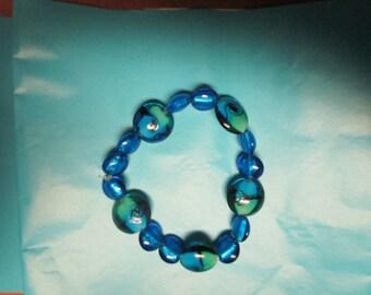 Blue and Green Glass Beaded Bracelet