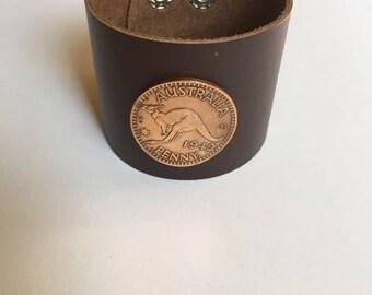 Austrlia Kangaroo Large Penny Leather Cuff Coin Bracelet