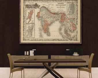 "Map of India 1862, Vintage India  map reprint  - home decor  - 3 color choices & 4 large/XL sizes up to 48"" x 36"""