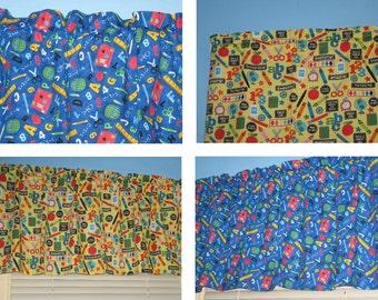 Blue Yellow  100% cotton BACK To SCHOOL Window Valance
