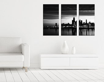 Chicago skyline triptych canvas print - Black and white Chicago gallery wrap. Three panels 10x20, 20x30 wall decor. Chicago photography