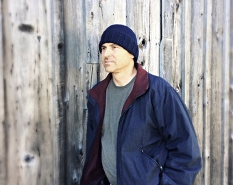 Mens wool hat - navy blue beanie - blue knit hat - watch cap - wool cap - hand knit - wool winter hat mens - gift idea - seamans