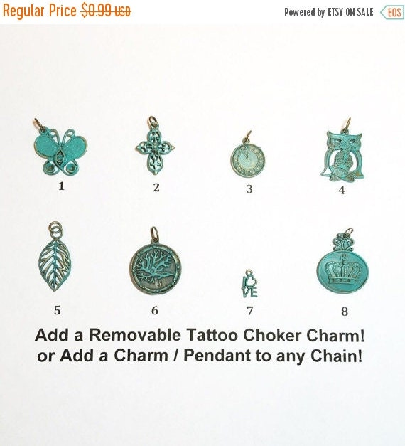 Seafoam Green Tattoo Choker Charm or Necklace Charm Pendant Removable ...