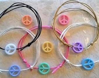 Peace sign anklet~Cotton cord anklet~sliding adjustable knots~hippie anklet~flower power