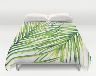 Palm Leaf Duvet Cover - Tropical Duvet Cover - Queen Size Duvet Cover - King Size Duvet Cover - Full Size Duvet Cover - Aldari Home