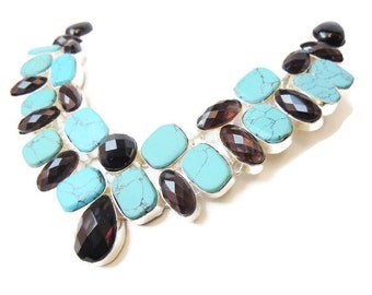 92.5 Silver plated Tourquoise, Black onyx and Smoky topaz stone necklace